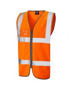 Leo W02-O Class 2 Zipped ID Waistcoat Orange