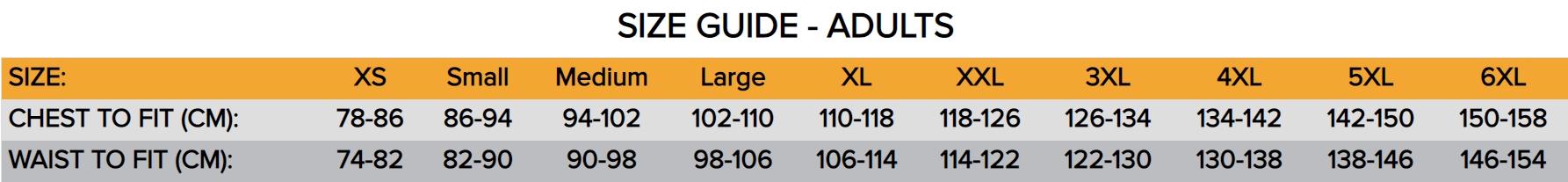Leo top adult size chart
