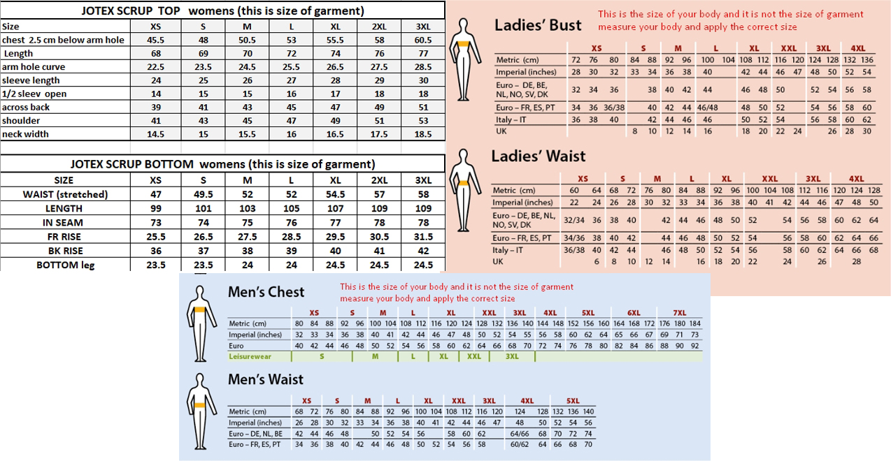jotex scrubs size chart